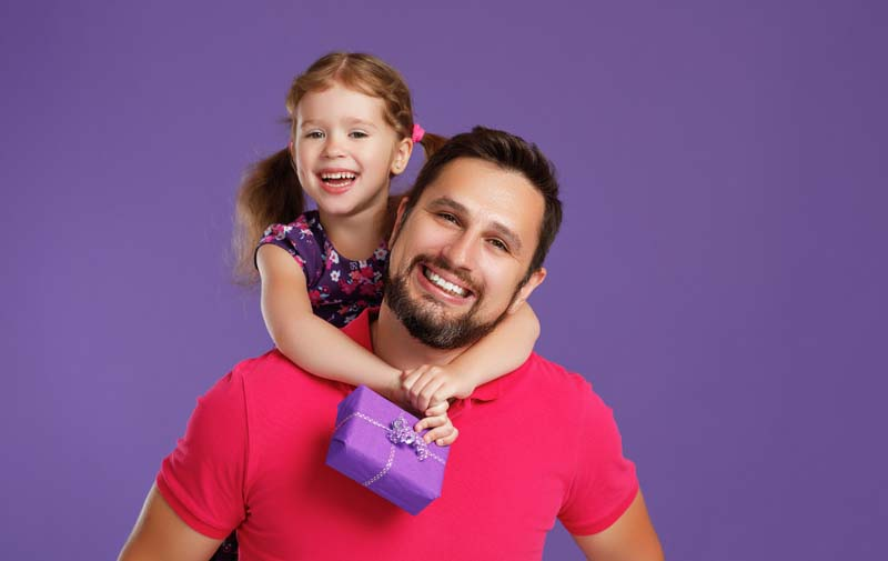 Happy daddy and daughter