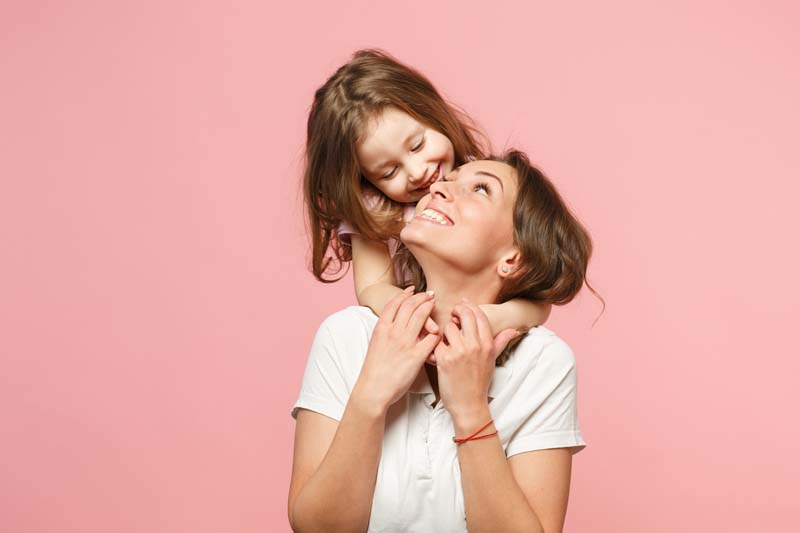 Happy mom and daughter